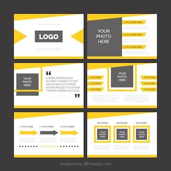 Moderne gelbe business-präsentation