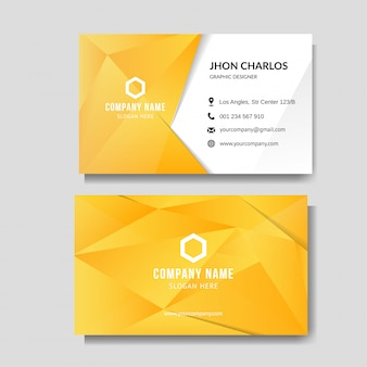 Moderne gelbe visitenkarte mit niedrigem poly
