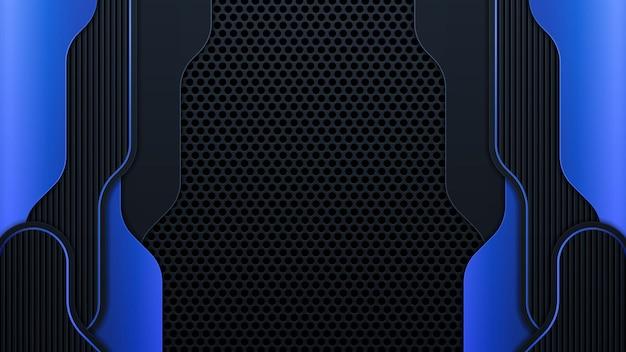 Moderne geometrie formt schwarze linien mit blauen rändern auf dunklem hintergrund. luxuriöse hellblaue linien mit metallischem rahmenlayout. vektorillustration