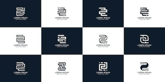 Moderne geometrische inspirierende buchstabe z-logo-vektor-design-kollektion z