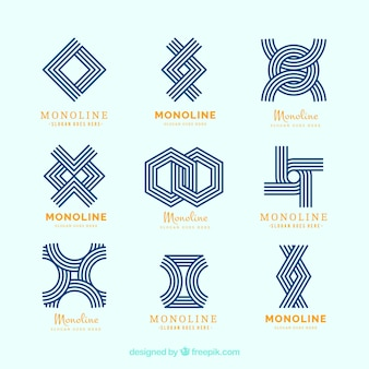 Moderne geometrische logos im monoline-stil