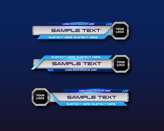 Moderne geometrische untere dritte banner-schnittstellenschablone für tv