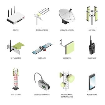 Moderne geräte der digitalen kommunikation und der verbindung lokalisierten ikonen