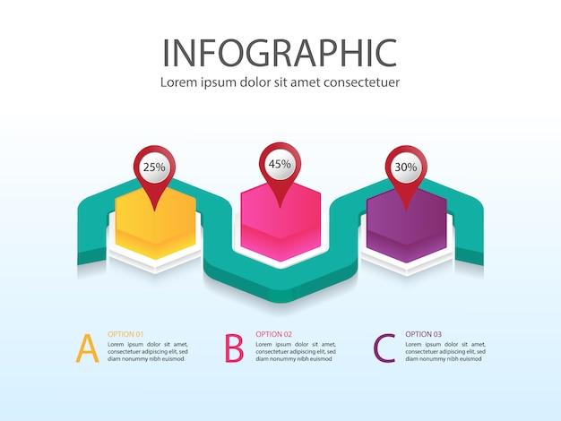 Moderne geschäftsdiagramm-infografiken mit buntem sechseck und platz für text für 3 schritte