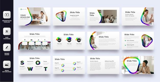 Moderne geschäftspräsentationsschablone mit regenbogenfarbe