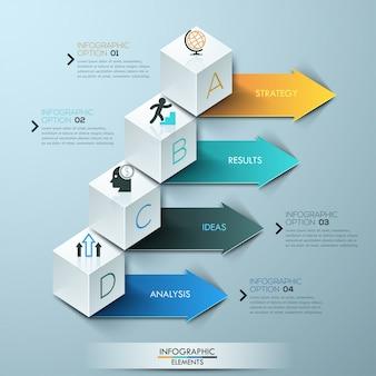 Moderne geschäftsschrittwahlen infographic kubikschablone