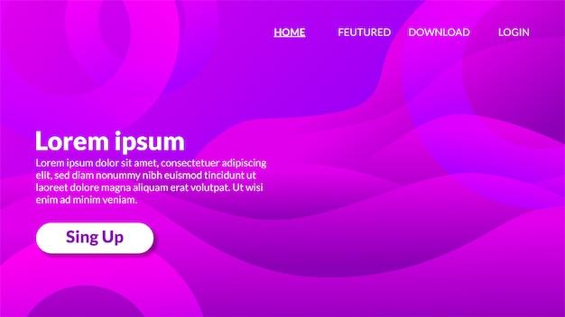 Moderne gewellte lila hintergrund steigung landing page