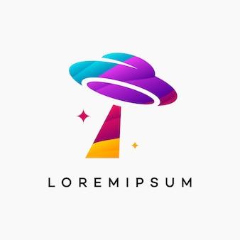 Moderne gewellte ufo-logo-design-vektor-vorlage