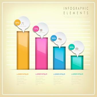 Moderne glänzende sprechblase infografik-elemente-vorlage