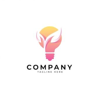 Moderne glühlampe-idee und natur-blatt-logo