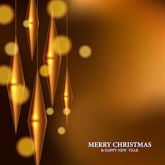 Moderne goldene hängende dekoration für weihnachtsfeier. elegantes, königliches, luxuriöses 3d-schnitzdesign mit goldenem bokeh-lichthintergrund. weihnachtsfeier