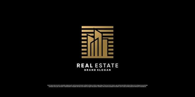 Moderne goldene immobilienlogoschablone premium-vektor