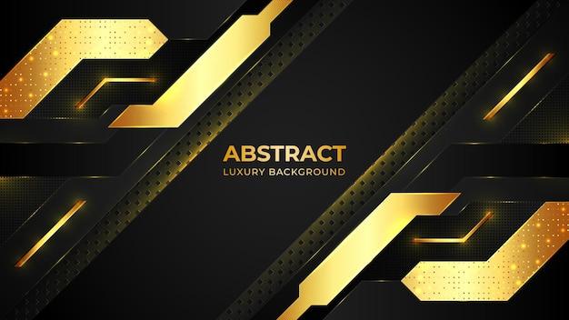 Moderne goldene luxushintergrundschablone mit geometrischen formen und mit goldenem muster.