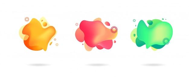 Moderne grafische elemente des abstrakten gradienten. banner mit fließenden flüssigen formen.