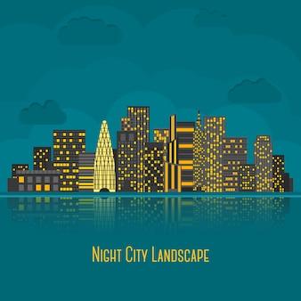 Moderne großstadtnacht mit reflexion im wasser. vektor