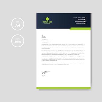 Moderne grüne briefkopfplanschablone