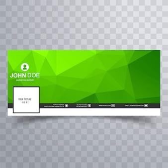 Moderne grüne geometrische polygonfacebook-zeitachsefahne