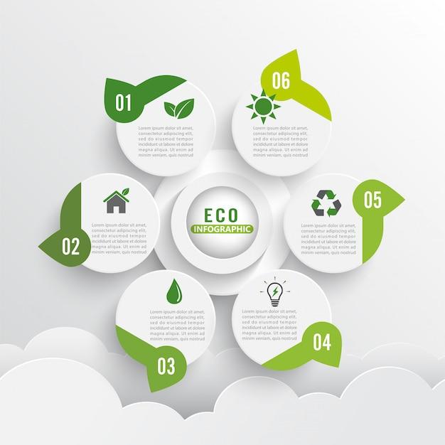 Moderne grüne ökologie design layout infografiken 6 optionen.
