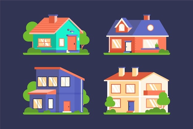 Moderne häuser illustrierte packung