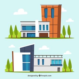 Moderne häuser in flachem design
