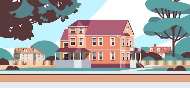 Moderne häuser landhäuser gebäude außerhalb der vorstadtlandschaft