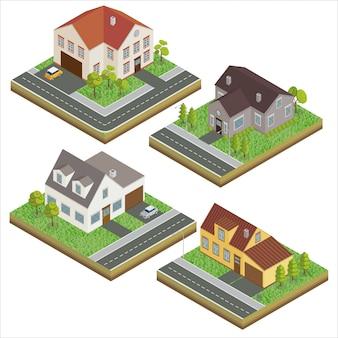 Moderne häuser. modernes zuhause. isometrisches konzept. grundeigentum. hütte. isometrisches haus. computersymbol. moderner skandinavischer stil