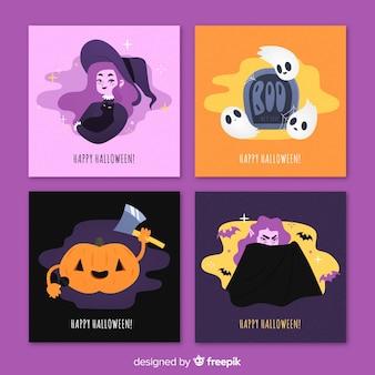 Moderne halloween-kartensammlung im flachen design