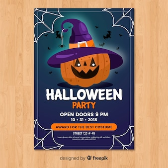 Moderne halloween-party-plakatschablone mit flachem design