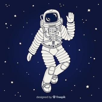 Moderne hand gezeichnete astronaut charakter