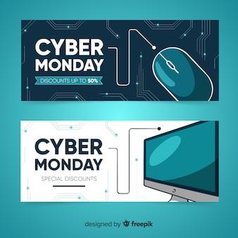 Moderne hand gezeichnete cyber-montag-fahnen