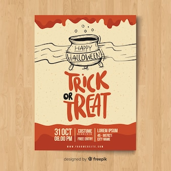 Moderne Hand gezeichnete Halloween-Party-Plakatschablone