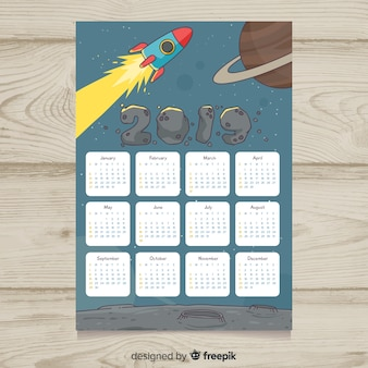 Moderne hand gezeichnete kalenderschablone 2019