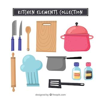 Moderne hand gezeichnete küchenelementsammlung