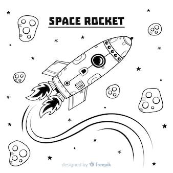 Moderne hand gezeichnete raketenzusammensetzung