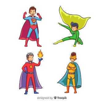 Moderne hand gezeichnete superheldcharaktersammlung