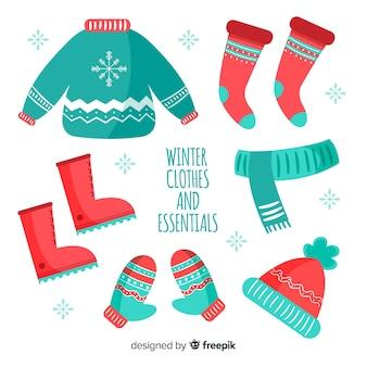 Moderne hand gezeichnete winterkleidungssammlung