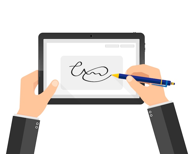Moderne handgeschriebene digitale signatur auf tablette. illustration