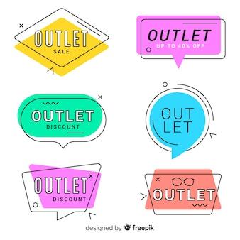 Moderne handgezeichnete outlet-abzeichen-sammlung