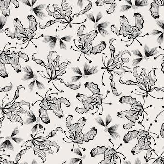 Moderne handgezeichnete schwarz-weiß-linienkunst blüht nahtloses muster in vektor-eps10, design für mode, stoff, web, tapete, verpackung und alle drucke
