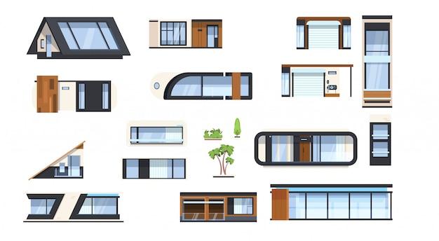 Moderne haus-element-satz-immobilien-gebäude-zeichen-ausgangsdesign-ikonen-sammlung lokalisiert
