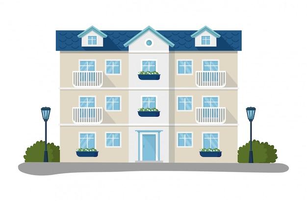 Moderne hausillustrationen, wohnwohnung der karikaturwohnung, fassade außerhalb des wohngebäudesatzikonen lokalisiert auf weiß