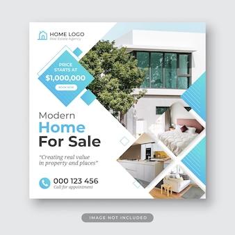 Moderne hausverkauf immobilien instagram post vorlage