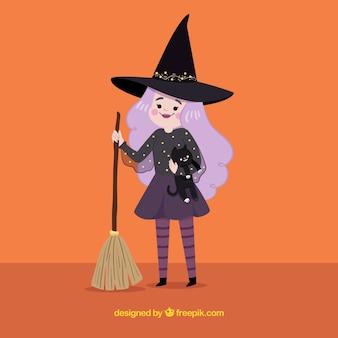 Moderne hexe mit niedlichem stil