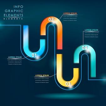 Moderne hi-tech-stil bunte infografik-elemente-vorlage