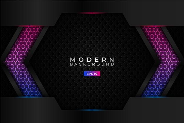 Moderne hintergrund-premium-technologie mit realistischem hexagon-verlaufs-blau-rosa-muster