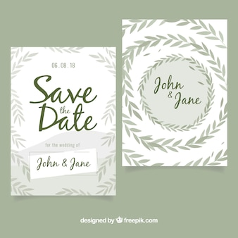 Moderne Hochzeitseinladung mit Blättern