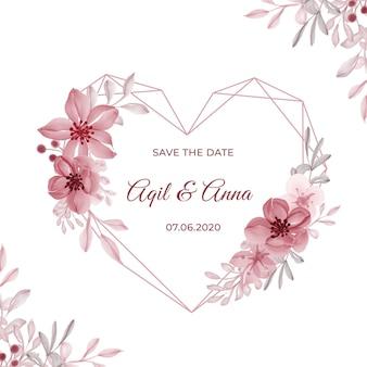 Moderne hochzeitseinladungskarte mit rosa blume der geometrischen liebesform
