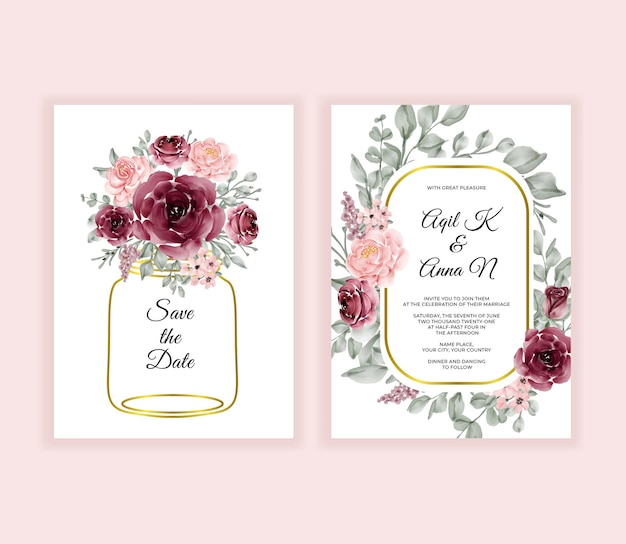 Moderne hochzeitseinladungskarte mit schönen blumen in der goldenen vase