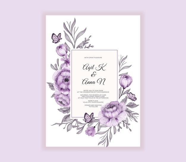 Moderne hochzeitseinladungskarte mit schönen lila blumen