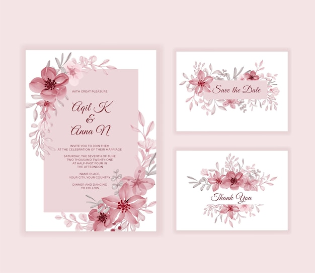 Moderne hochzeitseinladungskarte mit schönen rosa blumen